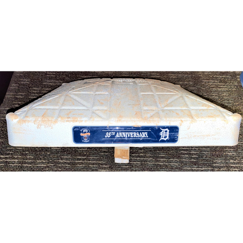 Photo of Detroit Tigers Game-Used Base with 1984 World Series Champions 35th Anniversary Base Jewels (MLB AUTHENTICATED)