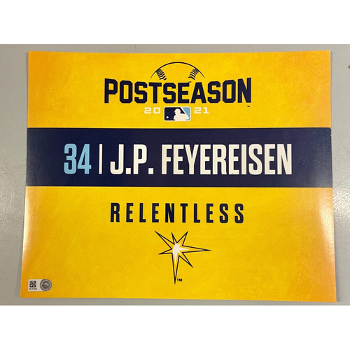Photo of Game Used ALDS Locker Tag: J.P. Feyereisen - Game 1 & 2 - October 7-8, 2021 v BOS