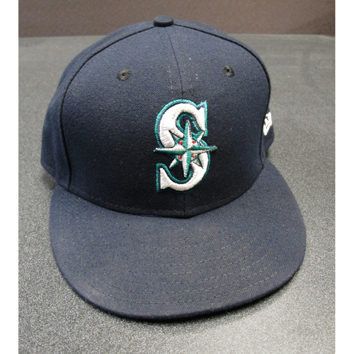Photo of Robinson Cano Team-Issued Navy Cap 2017. Cap Size - 7 1-4