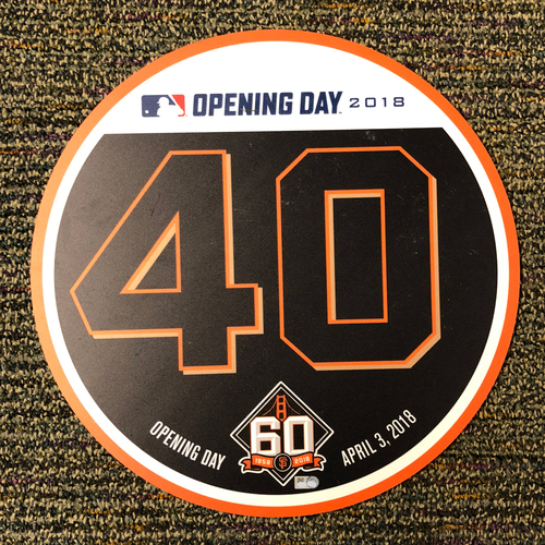 Photo of San Francisco Giants - 2018 Home Opening Day Ceremony Disc - #40 Madison Bumgarner