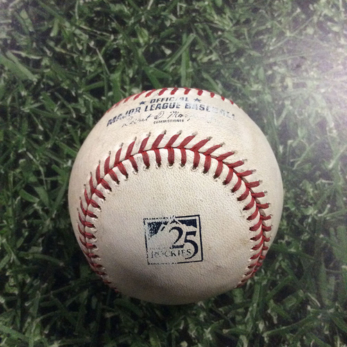 Photo of Game-Used Baseball MIL@COL  05/13/18 - Freddy Peralta - DJ LeMahieu: Foul Ball (Peralta MLB Debut Game)