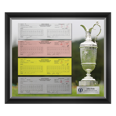 Photo of 1 of 200 L/E John Daly, Champion Golfer of Year, The 124th Open 1,2,3 and Final Round Scorecard Reproductions Framed