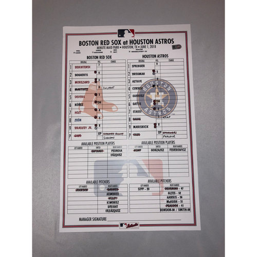 Photo of Red Sox at Astros June 1, 2018 Game-Used Lineup Card - Astros Win 7 to 3