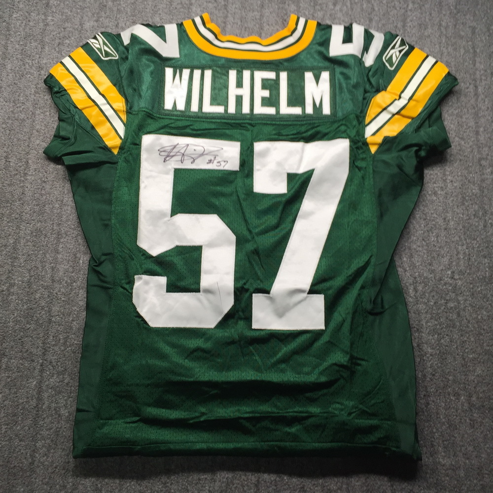 PCF - Packers Matt Wilhelm SBXLV Signed Game Issued Jersey