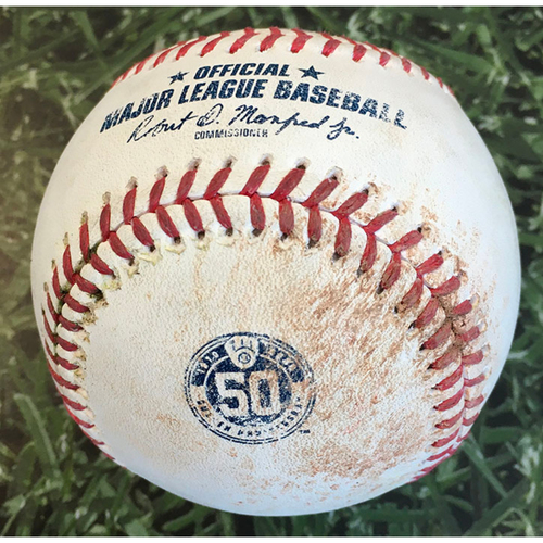 Photo of Game-Used Baseball CIN@MIL 08/27/20 (Game 1 of Doubleheader) - Adrian Houser - Nick Castellanos (Single) & Jesse Winker (Single)