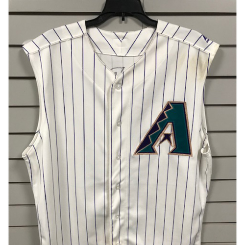Photo of Taylor Clarke 2019 Game-Used Vest Throwback Jersey, 8/29/19 vs. Dodgers: Clarke Pitched 2.2 Innings, Gave up 1 Hit and 1 Earned Run