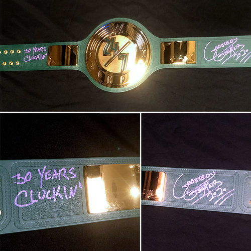 Photo of The Gobbledy Gooker SIGNED WWE 24/7 Championship Replica Title