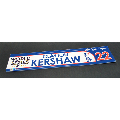 Photo of Game-Used Locker Name Plate - 2017 World Series Game 3 - Houston Astros vs. Los Angeles Dodgers - Clayton Kershaw (Los Angeles Dodgers)