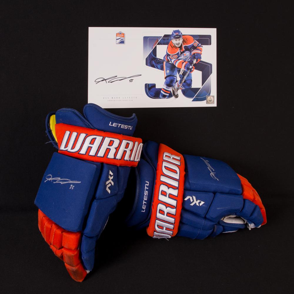 Mark Letestu #55 - Autographed 2016-17 Edmonton Oilers Game-Worn Warrior Hockey Gloves - Includes Autographed Oversize Player Card!