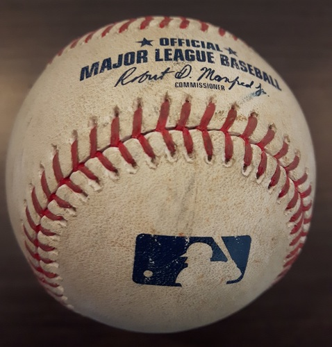 Photo of Authenticated Game Used Baseball - J.A. Happ Strikeout on August 25, 2017 (Top 6 vs Max Kepler)