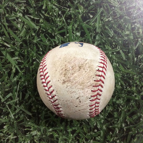 Photo of Game-Used Baseball CHC@MIL  09/22/17 - John Lackey - Eric Sogard: Single