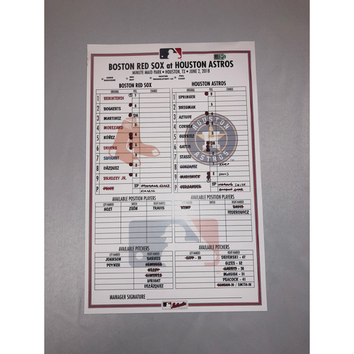 Photo of Red Sox at Astros June 2, 2018 Game-Used Lineup Card  -  Red Sox Win 5 to 4