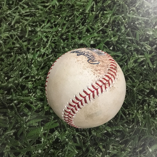 Photo of Game-Used Baseball CHC@MIL  04/05/18 - Jon Lester - Hernan Perez: Strikeout Swinging