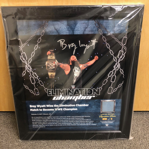 Photo of Bray Wyatt SIGNED Elimination Chamber 2017 Signature Series Ring Canvas Plaque (#1 of 5)