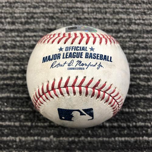 Photo of 2019 Game Used Baseball - SF vs NYY - April 27, 2019 - B-9: Aroldis Chapman to Pablo Sandoval - Foul Ball
