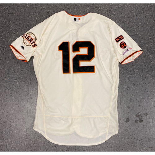 Photo of 2019 Game Used Home Jersey - worn by #12 Joe Panik - authenticated on 6/11 vs SD, 6/15 vs MIL, and 7/22 vs CHC - Final Giants Jersey - size 46
