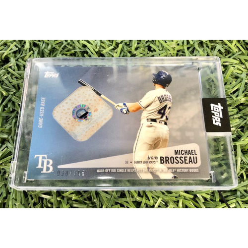 Photo of Rays Baseball Foundation: Michael Brosseau Game Used Relic TOPPS Baseball Card - August 17, 2019