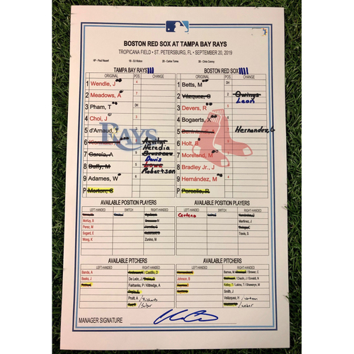 Photo of Game Used Lineup Card: Diego Castillo (W, 1.0IP, 2 SO) - Willy Adames Walk-Off RBI Single - Mitch Moreland 2-HR (16, 17) Game - September 20, 2019 v BOS