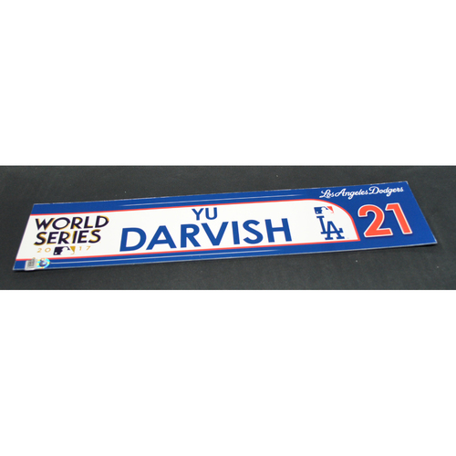 Photo of Game-Used Locker Name Plate - 2017 World Series Game 3 - Houston Astros vs. Los Angeles Dodgers - Yu Darvish (Los Angeles Dodgers)