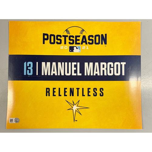 Photo of Game Used ALDS Locker Tag: Manuel Margot - Game 1 & 2 - October 7-8, 2021 v BOS