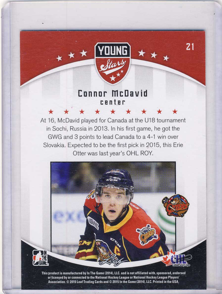 2014 15 Leaf Itg 21 Connor Mcdavid Erie Otters Young Stars