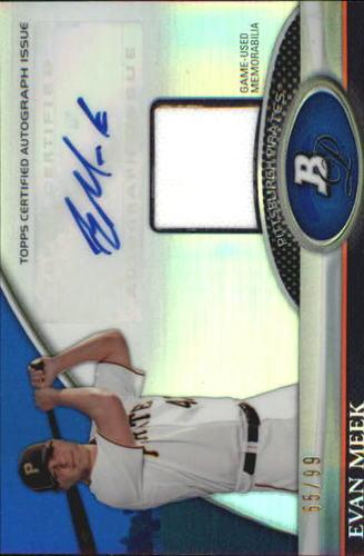 Photo of 2011 Bowman Platinum Relic Autograph Blue Refractors #EM Evan Meek