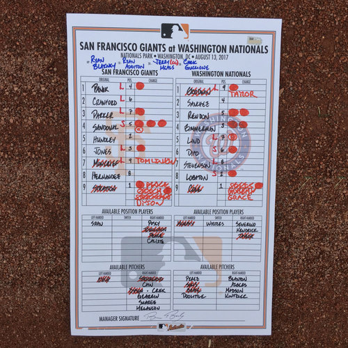 San Francisco Giants - Lineup Card from 8/13/17 - Chris Stratton K's 10 and 1st career W as a starter