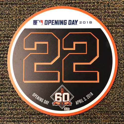 Photo of San Francisco Giants - 2018 Home Opening Day Ceremony Disc - #22 Andrew McCutchen