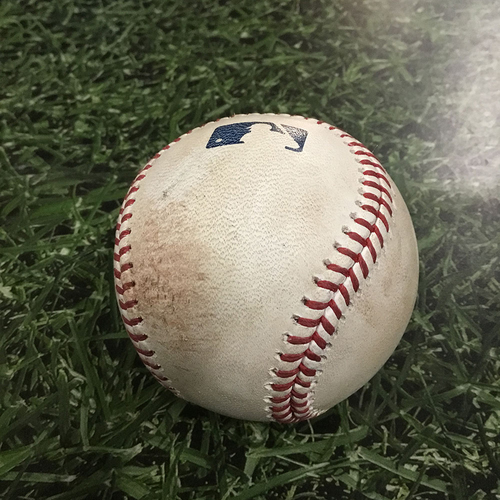 Photo of Game-Used Baseball PHI@MIL  06/17/18 - Aaron Nola - Eric Thames: Strikeout