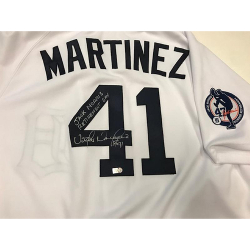 Photo of Autographed Team-Issued Victor Martinez Jersey: Jack Morris Number Retirement Day