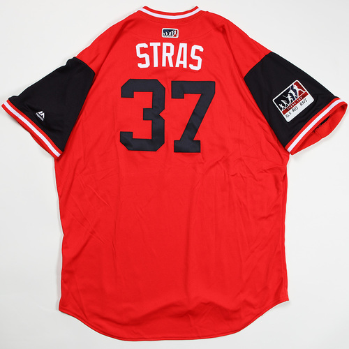 "Photo of Stephen ""Stras"" Strasburg Washington Nationals Game-Used Jersey 2018 Players' Weekend Jersey"