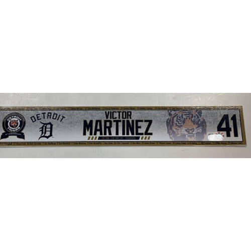 Photo of Game-Used Victor Martinez Locker Name Plate