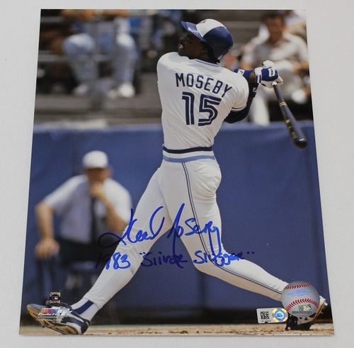 Photo of Autographed Lloyd Moseby 8x10 Photo with Silver Slugger Inscription