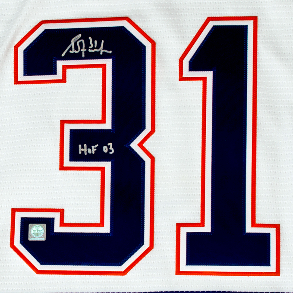 competitive price af841 7e734 Grant Fuhr #31 - Autographed Edmonton Oilers White Nike ...