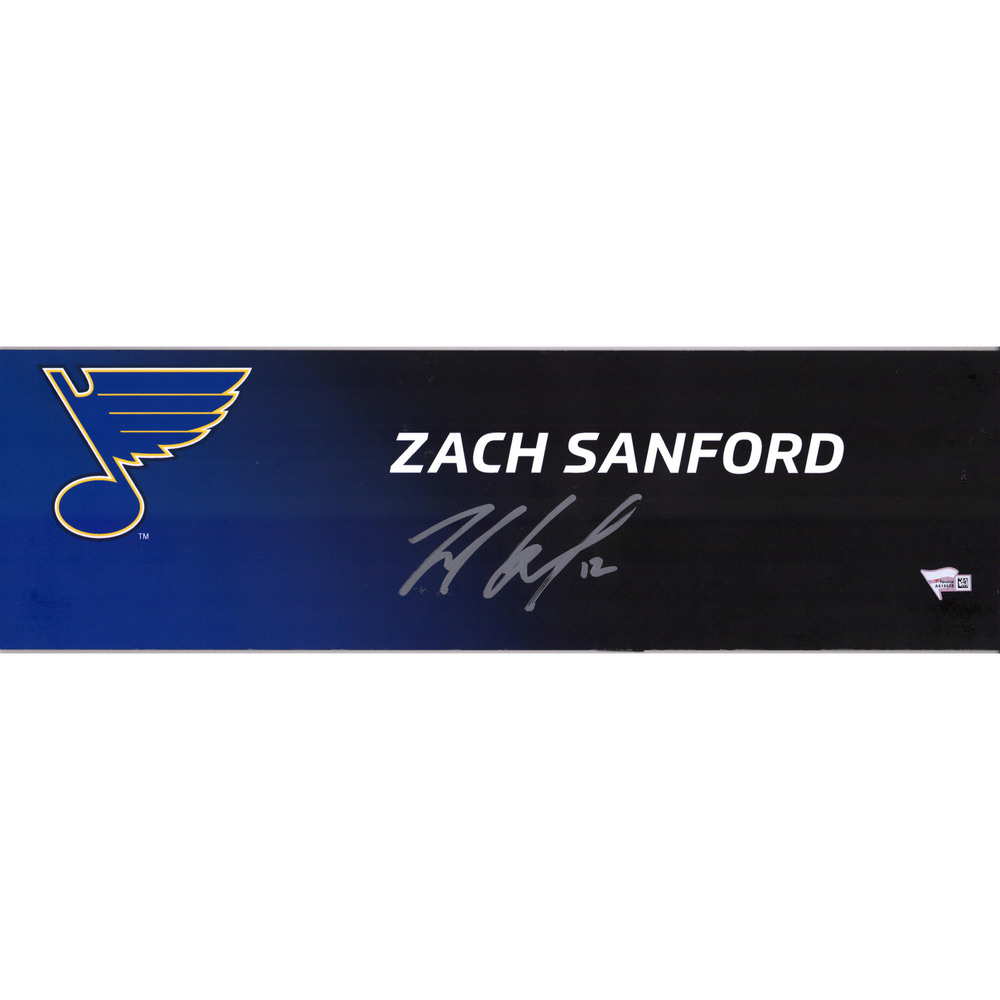 Zach Sanford St. Louis Blues 2019 Stanley Cup Champions Autographed Event-Used Media Nameplate