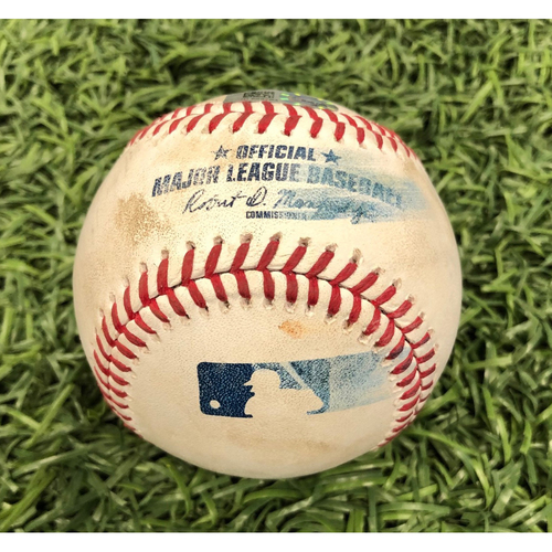 Photo of Game Used Baseball: Travis d'Arnaud single, Austin Meadows single & Tommy Pham foul ball off Brett Martin - June 30, 2019 v TEX