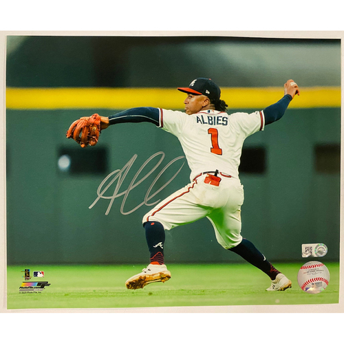 Photo of Ozzie Albies Autographed Photo Throwing