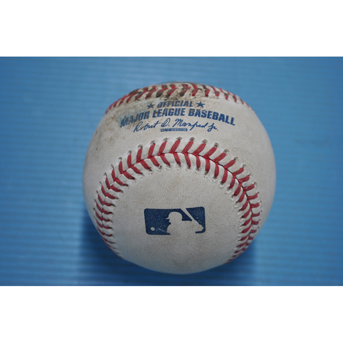 Photo of Game-Used Baseball - 2020 ALDS - New York Yankees vs. Tampa Bay Rays - Game 1 - Pitcher - Blake Snell, Batter - Aaron Judge (Groundout to Pitcher) - Top 1