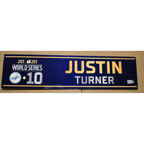 Photo of Game-Used Locker Name Plate - 2020 World Series - Los Angeles Dodgers vs. Tampa Bay Rays - Used Entire Series - Justin Turner (Los Angeles Dodgers)