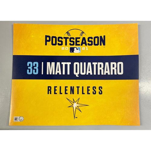 Photo of Game Used ALDS Locker Tag: Matt Quatraro - Game 1 & 2 - October 7-8, 2021 v BOS