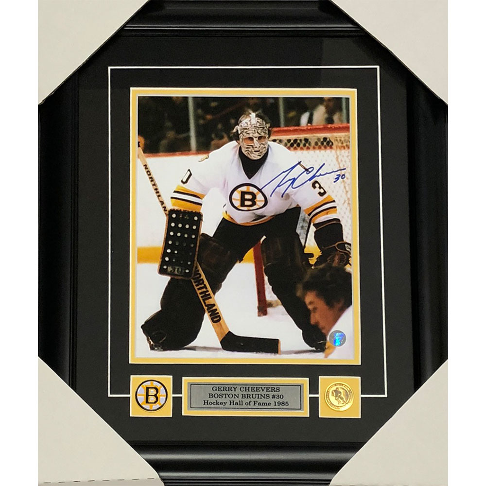 Gerry Cheevers Autographed Boston Bruins Framed 8X10 Photo