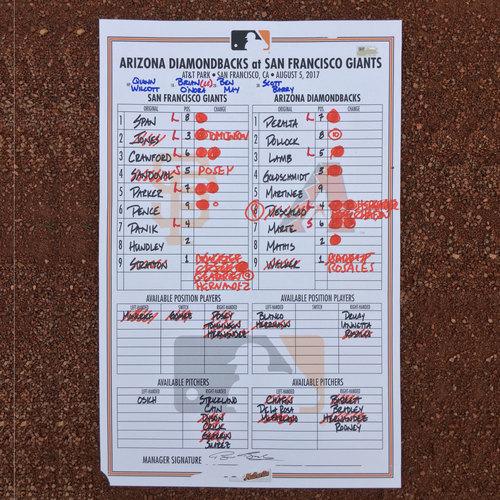 San Francisco Giants - Lineup Card from 8/5/17 - Jarrett Parker's 1st career walk-off
