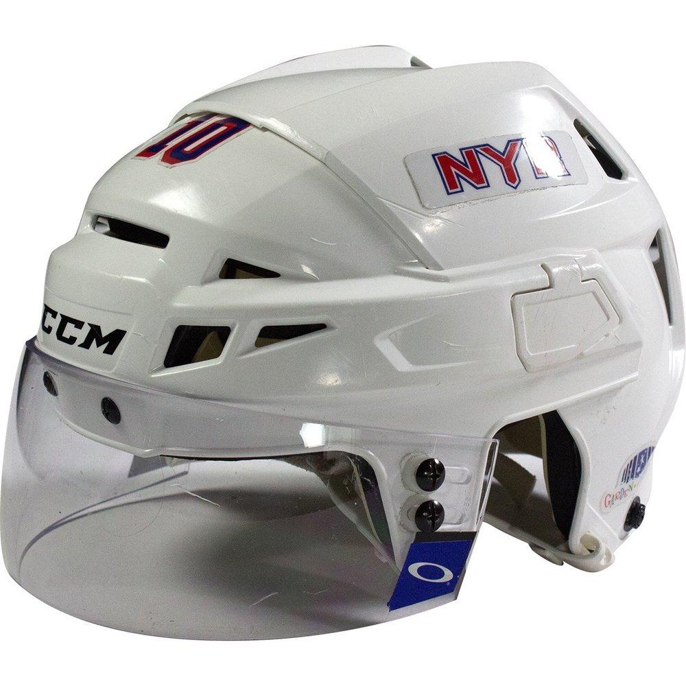JT Miller New York Rangers 2016-2017 Season Game Used #10 White Helmet w/ 100th Anniversary Sticker
