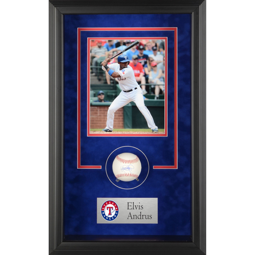 Photo of Elvis Andrus Texas Rangers Framed Autographed Baseball Shadowbox