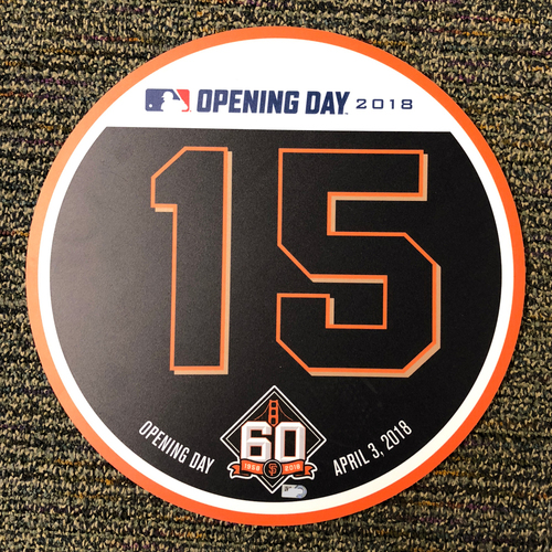Photo of San Francisco Giants - 2018 Home Opening Day Ceremony Disc - #15 Bruce Bochy