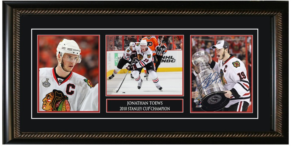 Toews,J Signed 3 8x10 Stanley Cup With Etching & Pins