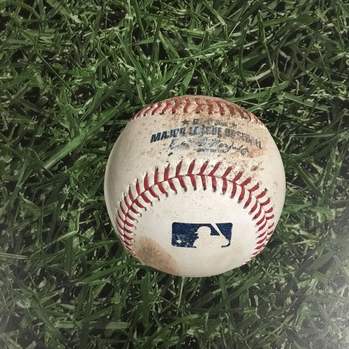 Photo of Game-Used Baseball ATL@MIL  07/06/18 - Mike Foltynewicz - Christian Yelich: Strikeout Swinging