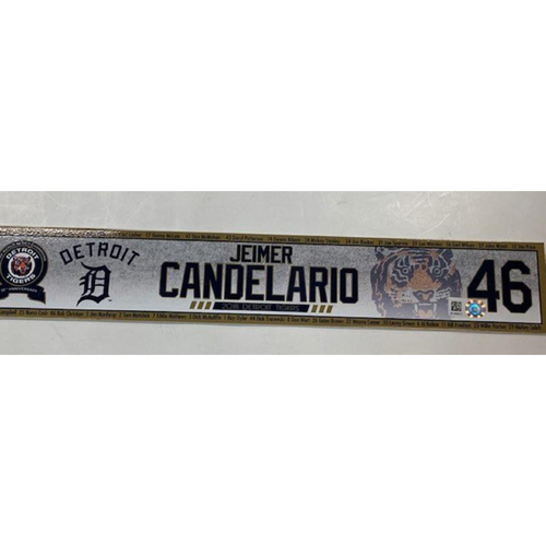 Photo of Game-Used Jeimer Candelario Locker Name Plate