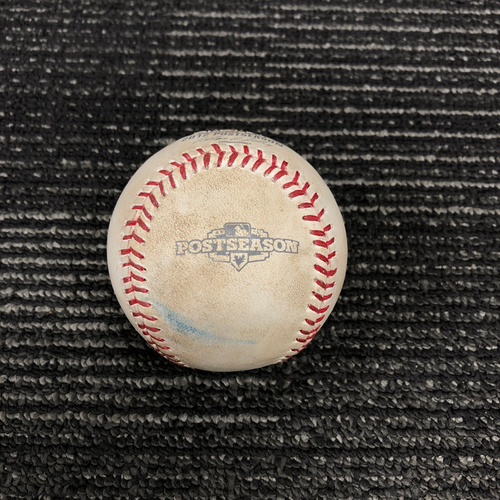 Photo of 2012 Postseason Game Used Baseball - NLDS Game 1 vs. Cincinnati Reds - Mat Latos to Hunter Pence - Foul Back to Screen