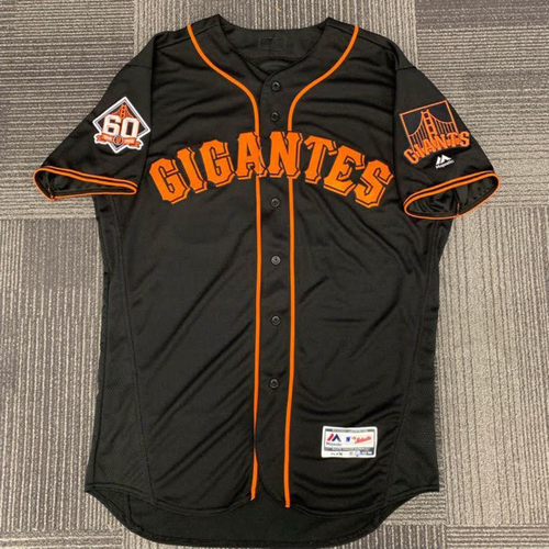 Photo of End of Year Auction - 2018 Team Issued Fiesta Gigantes Black Home Jersey - #28 Buster Posey  - size 46
